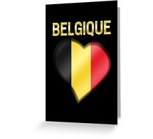 Belgique - Belgian Flag Heart & Text - Metallic Greeting Card