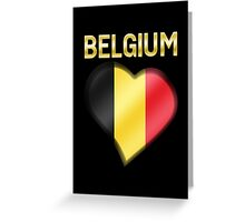 Belgium - Belgian Flag Heart & Text - Metallic Greeting Card
