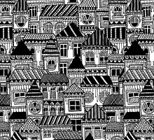 Black and White Busy Body Houses by Stacey Muir