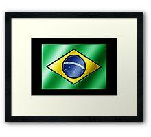 Brazilian Flag - Brazil - Metallic Framed Print