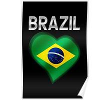 Brazil - Brazilian Flag Heart & Text - Metallic Poster