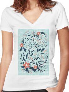 Winter flowers Women's Fitted V-Neck T-Shirt