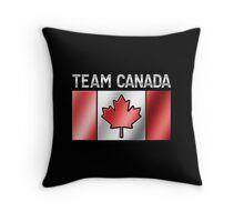 Team Canada - Canadian Flag & Text - Metallic Throw Pillow