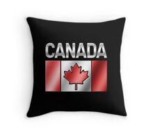 Canada - Canadian Flag & Text - Metallic Throw Pillow