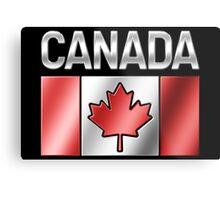 Canada - Canadian Flag & Text - Metallic Metal Print