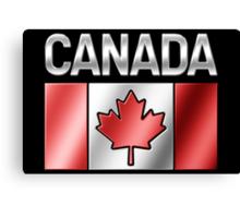 Canada - Canadian Flag & Text - Metallic Canvas Print