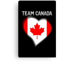 Team Canada - Canadian Flag Heart & Text - Metallic Canvas Print