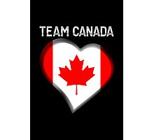 Team Canada - Canadian Flag Heart & Text - Metallic Photographic Print