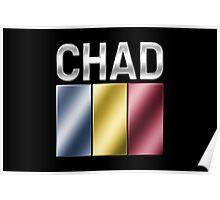 Chad - Chadian Flag & Text - Metallic Poster