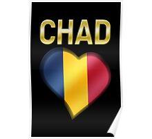 Chad - Chadian Flag Heart & Text - Metallic Poster