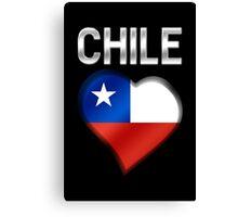 Chile - Chilean Flag Heart & Text - Metallic Canvas Print