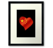 Chinese Flag - China - Heart Framed Print