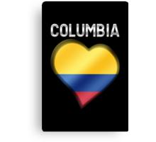 Columbia - Columbian Flag Heart & Text - Metallic Canvas Print
