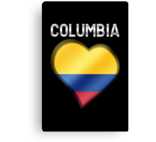 Columbia - Columbian Flag Heart & Text - Metallic Canvas Print