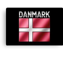 Danmark - Danish Flag & Text - Metallic Canvas Print