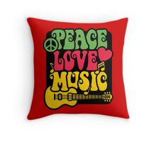 Peace, Love, Music in Rasta Colors Throw Pillow