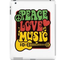 Peace, Love, Music in Rasta Colors iPad Case/Skin