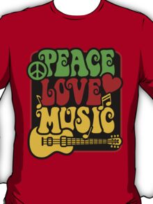 Peace, Love, Music in Rasta Colors T-Shirt