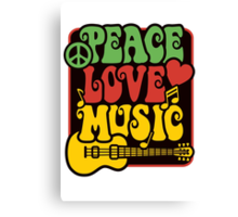 Peace, Love, Music in Rasta Colors Canvas Print