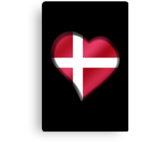 Danish Flag - Denmark - Heart Canvas Print