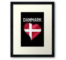 Danmark - Danish Flag Heart & Text - Metallic Framed Print