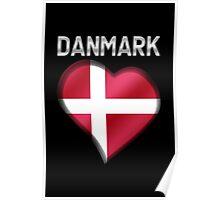 Danmark - Danish Flag Heart & Text - Metallic Poster