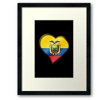 Ecuadorian Flag - Ecuador - Heart Framed Print