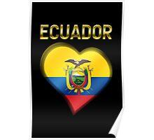 Ecuador - Ecuadorian Flag Heart & Text - Metallic Poster