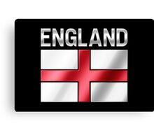 England - English Flag & Text - Metallic Canvas Print