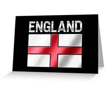 England - English Flag & Text - Metallic Greeting Card