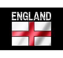 England - English Flag & Text - Metallic Photographic Print