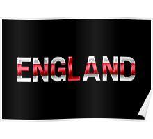 England - English Flag - Metallic Text Poster