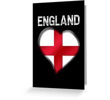England - English Flag Heart & Text - Metallic Greeting Card