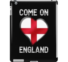 Come On England - English Flag Heart & Text - Metallic iPad Case/Skin