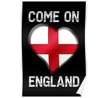 Come On England - English Flag Heart & Text - Metallic Poster