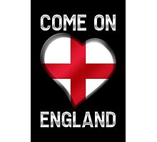 Come On England - English Flag Heart & Text - Metallic Photographic Print