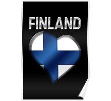 Finland - Finnish Flag Heart & Text - Metallic Poster