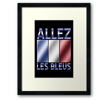 Allez Les Bleus - French Flag & Text - Metallic Framed Print