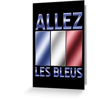 Allez Les Bleus - French Flag & Text - Metallic Greeting Card