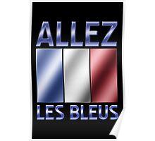 Allez Les Bleus - French Flag & Text - Metallic Poster