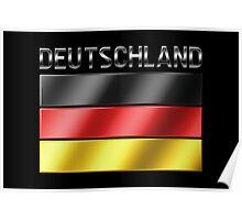 Deutschland - German Flag & Text - Metallic Poster