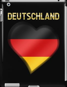 Deutschland - German Flag Heart & Text - Metallic by graphix