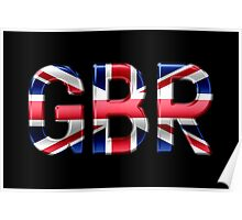GBR - British Flag - Metallic Text Poster