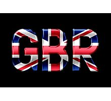 GBR - British Flag - Metallic Text Photographic Print