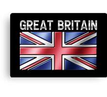 Great Britain - British Flag & Text - Metallic Canvas Print