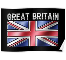 Great Britain - British Flag & Text - Metallic Poster
