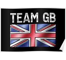 Team GB - British Flag & Text - Metallic Poster