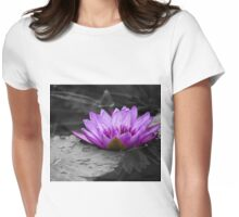 Purple Water Lily 002 Black and White Background Womens Fitted T-Shirt