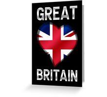Great Britain - British Flag Heart & Text - Metallic Greeting Card
