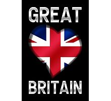 Great Britain - British Flag Heart & Text - Metallic Photographic Print